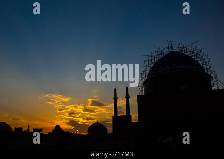 Jameh Mosque at the sunset, Yazd, Iran - Stock Photo