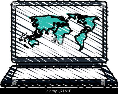 colorful crayon silhouette of laptop computer with wallpaper of world map - Stock Photo