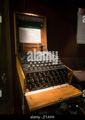 An original, field portable Enigma Machine used by the Nazis during World War Two to encode secret messages. This - Stock Photo