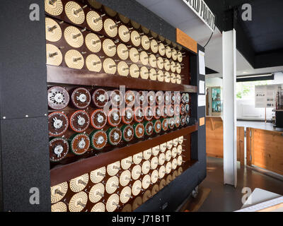 A working recreation of the Turing Machine or Bombe at the home of the WWll codebreakers at Bletchley Park in England. - Stock Photo