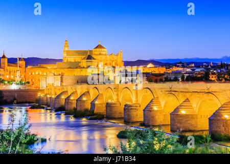 Cordoba, Spain. The Roman Bridge and Mosque (Cathedral) on the Guadalquivir River. - Stock Photo
