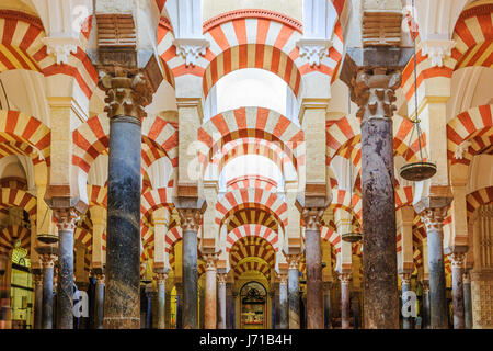 CORDOBA, SPAIN - September 29, 2016: Interior view of La Mezquita Cathedral in Cordoba, Spain. Cathedral built inside - Stock Photo