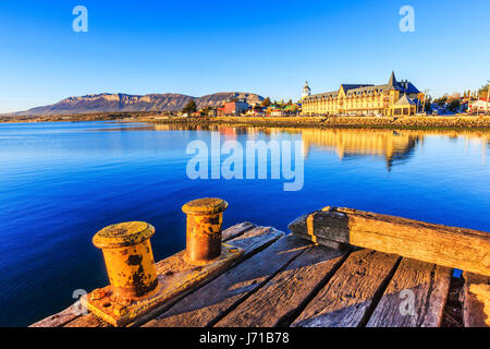 Puerto Natales in Patagonia, Chile. Old Dock in Almirante Montt golf. - Stock Photo