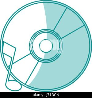 blue shading silhouette of music compact disc - Stock Photo