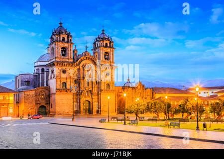 Cusco, Peru the historic capital of the Inca Empire. Plaza de Armas at twilight. - Stock Photo