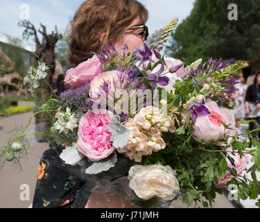 London, UK. 22nd May, 2017. A woman carrying a large bouquet of roses and peonies at the RHS Chelsea Flower Show - Stock Photo