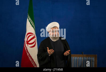 Tehran, Iran. 22nd May, 2017. Iran's re-elected President Hassan Rouhani attends a press conference in Tehran, capital - Stock Photo