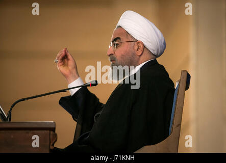Tehran, Iran. 22nd May, 2017. Iran's re-elected President Hassan Rouhani addresses a press conference in Tehran, - Stock Photo