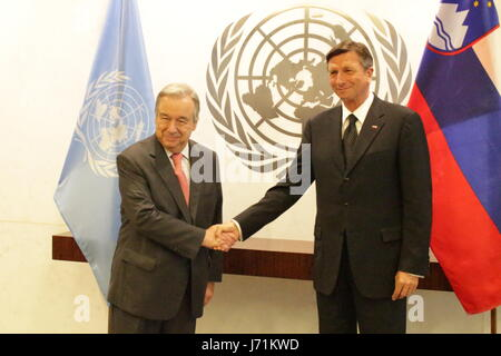 New York City, USA. 22nd May, 2017. Slovenia's President Borut Pahor meets UN Secretary General Antonio Guterres on May 22, on the 25th anniversary of Slovenia's membership in the UN Credit: Matthew Russell Lee/Alamy Live News