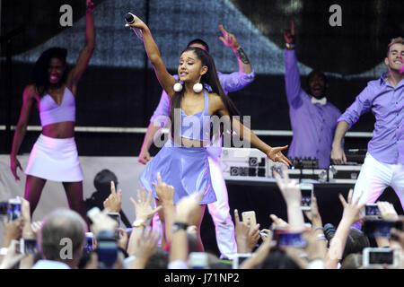 New York, United States Of America. 16th Sep, 2015. Singer Ariana Grande performs at Ariana Grande 'ARI By Ariana - Stock Photo