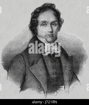 Casimir Delavigne (1793-1843). French poet and dramatist. Engraving, 19th century. Our Century,1883. - Stock Photo
