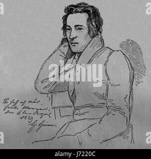 Heinrich Heine (1797-1856). German poet. Romanticism. Engraving, 19th century. Our Century,1883. - Stock Photo