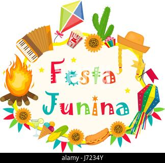 Festa Junina frame with space for text. Brazilian Latin American festival blank template for your design, isolated - Stock Photo