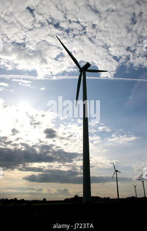 wind wheels in the backlight - Stock Photo