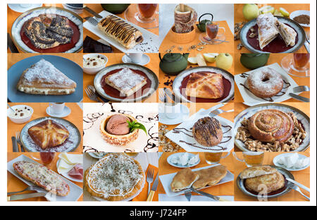 A largA large collage with sweet buns tea, coffeee collage with sweet buns tea, coffee - Stock Photo