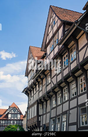 half-timbered houses in hann mnden - Stock Photo