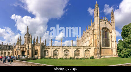 Panorama of the famous King's college university of Cambridge and chapel in Cambridge, UK - Stock Photo