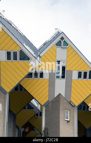 ROTTERDAM, NETHERLANDS - MAY 16, 2017: Cube houses  are a set of innovative houses built in Rotterdam and Helmond - Stock Photo