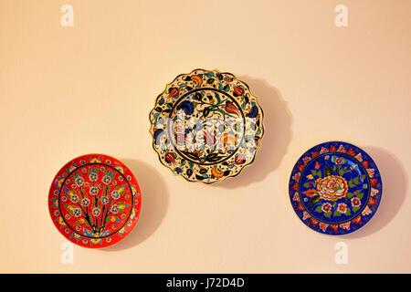 souvenir decorative plates on a wall in Essaouira ,Morocco Stock ...