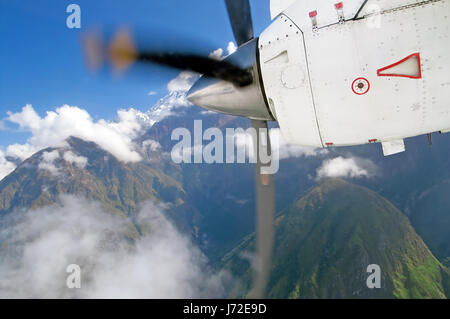 View of Himalayas mountains from the plane - Stock Photo