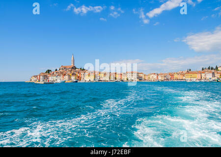 Rovinj, Croatia - April 29, 2017: unique view on the medieval tovn of Rovinj as seen from the sea - Stock Photo