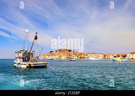 Rovinj, Croatia - May 1, 2017: unique view on the medieval tovn of Rovinj as seen from the sea - Stock Photo