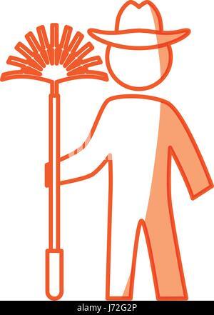 worker gardener pictogram - Stock Photo