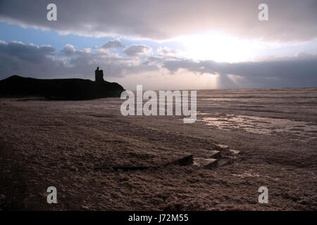 tower beach seaside the beach seashore ruins ireland storm beauty gale blue - Stock Photo