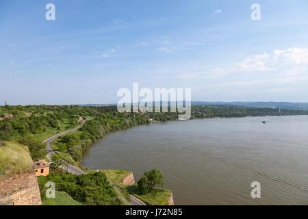 Danube shore from Petrovaradin fortress in Novi Sad, Serbia. Danube river is one of the biggest rivers of central - Stock Photo