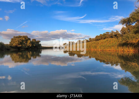 river channel in the Danube Delta, Romania - Stock Photo