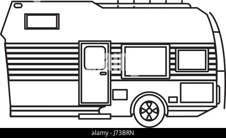 Travel Trailer Camping Transport Cabin Outline