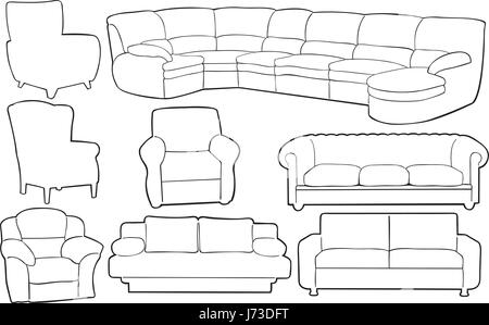 Different Couches set of different couches isolated on white stock photo, royalty