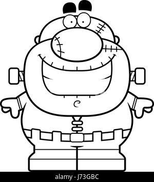 A Cartoon Illustration Of Frankenstein Monster Smiling