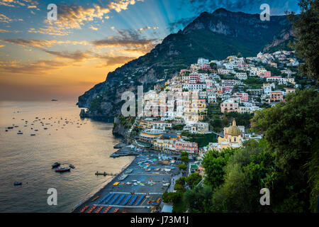 Positano is a village and comune on the Amalfi Coast (Costiera Amalfitana), in Campania, Italy, mainly in an enclave - Stock Photo