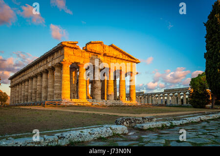 Paestum was a major ancient Greek city on the coast of the Tyrrhenian Sea in Magna Graecia (southern Italy). - Stock Photo