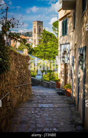 Ravello is a town and comune situated above the Amalfi Coast in the province of Salerno, Campania, southern Italy, - Stock Photo
