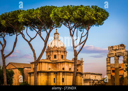 Santi Luca e Martina is a church in Rome, Italy, situated between the Roman Forum and the Forum of Caesar and close - Stock Photo