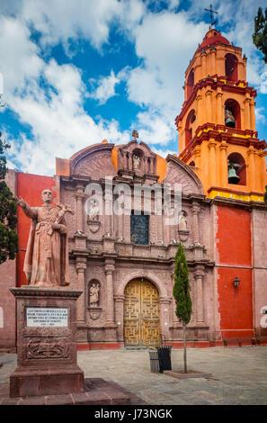 The San Francisco Church in the historic center of San Miguel de Allende, Mexico - Stock Photo