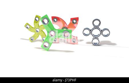 Classic and handed fidget spinners, 3d render working - Stock Photo