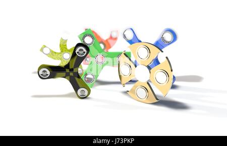 Different colored fidget spinners of background, 3d render working - Stock Photo