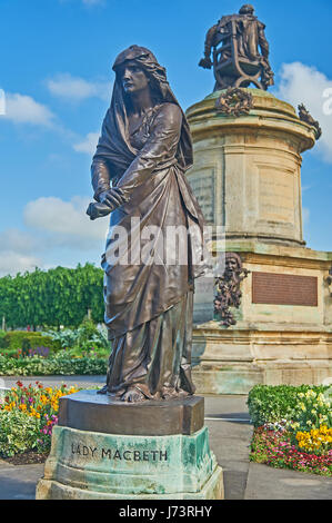 The Gower Memorial statue to William Shakespeare stands in Bancroft Gardens in the heart of Stratford upon Avon, - Stock Photo