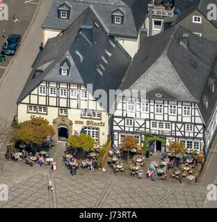 Cafe at the market and Jägerhof, half-timbered house, half-timbered houses, historic restaurant, Brilon, Sauerland, Hochsauerlandkreis, North Rhine-We