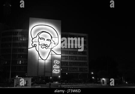 Illuminated outline monochrome image sculpture of Camilo Cienfuegos revolutionary and right hand man to Fidel Castro - Stock Photo