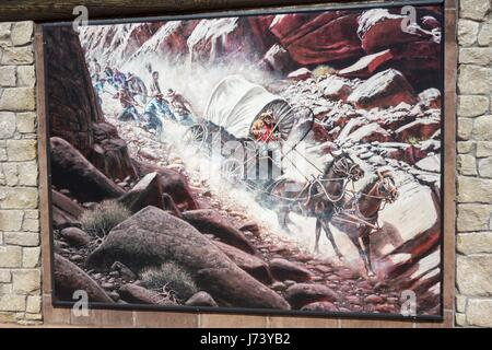 Artwork by Lynn Griffin at Hole in the Rock Heritage Center near town of Escalante, Utah - Stock Photo
