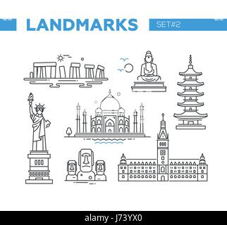 World Famous Landmarks - line design icons set - Stock Photo