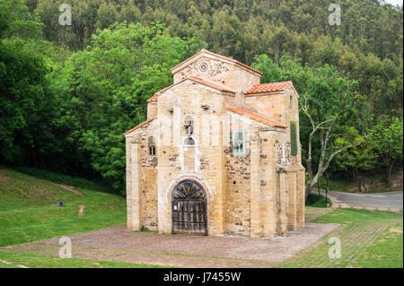 Pre- Romanesque church of San Miguel de Lillo, 9th. century, Oviedo, Asturias, Spain - Stock Photo