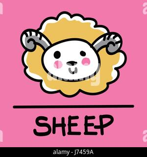 Cute sheep hand-drawn style,drawing,hand drawn vector illustration. - Stock Photo