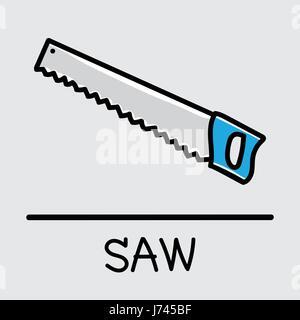hand saw drawing. saw hand-drawn style, drawing, hand drawn, illustration. - stock photo drawing