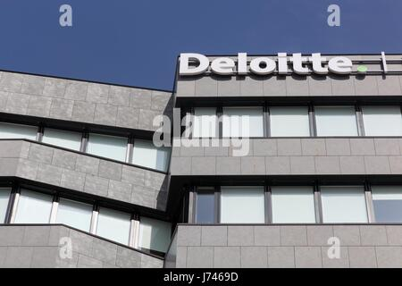 Lyon, France - March 15, 2017: Deloitte building in Lyon, France. Deloitte is one of the Big Four accounting firms - Stock Photo