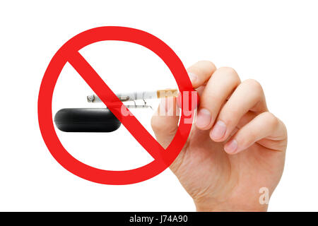Hand drawing No Smoking prohibition sign concept on ashtray and lighted cigarette. - Stock Photo